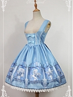 Custom Size Available Under-Bust Bows Decorated And Lace Hemline Lolita JSK - Chrono Guardian by Souffle Song