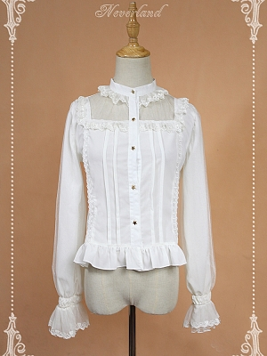 Standing Collar Long Sleeves Blouse with Ruffles Lolita Blouse- Crystal palace by Souffle Song