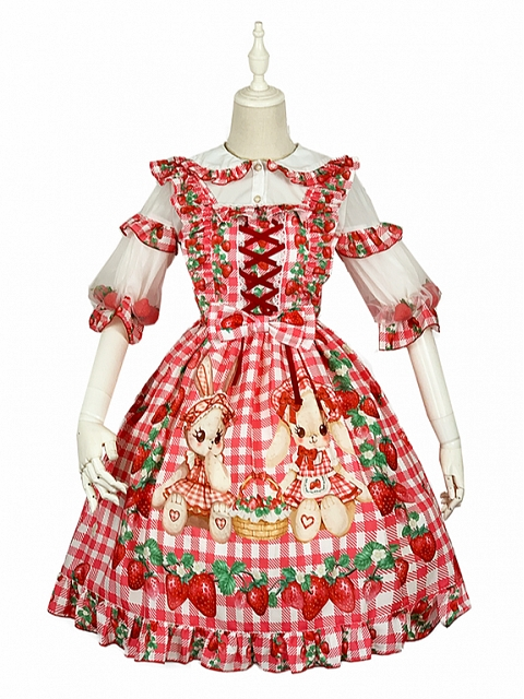 Sweet Strawberry and Bunny Prints Lolita JSK by Diamond Honey