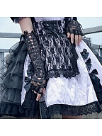 Lace Long Gloves With Lace-up by Diamond Honey