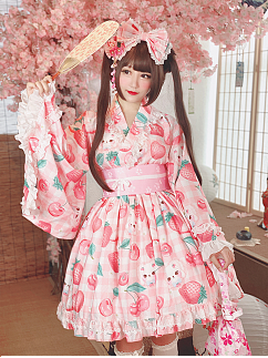 Cherry Strawberry Yukata Set Top and Skirt by Diamond Honey