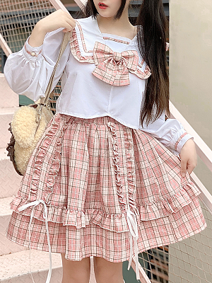 Milk Tea Pudding Set Long Sleeves Top and Plaid Skirt by Diamond Honey