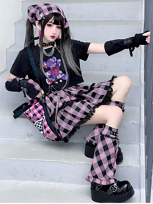 Dark Strawberry Jam Teddy Plaid Skirt by Diamond Honey