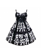 Dark Zombie Dying Bear Tiered Flounce Hemline Cami Dress by Diamond Honey