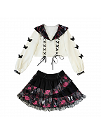Hot Girl Dark Sweet JK Set Sailor Collar Top / Skirt by Diamond Honey
