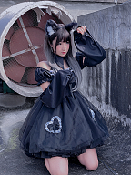 Dark Night Bud Black Organza Dress OP by Diamond Honey