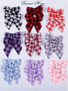 Plaid Bow Hair Clip Set by Diamond Honey