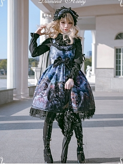 Gothic Dragon and Cat Knight Collection Shirring Back JSK with Cape by Diamond Honey
