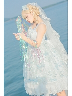 Tears of Aquamarine Mermaid Back Shirring Lace Ruffle Hemline JSK by Dawn and Morning Dew