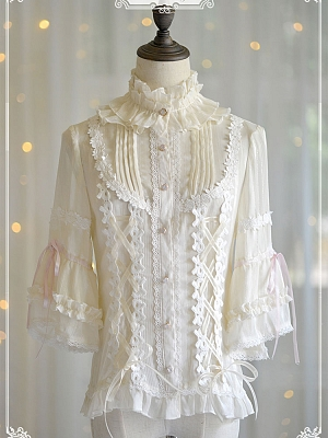 Ruffled Stand Collar Bracelet Trumpet Sleeve Lined Blouse by Doris Night