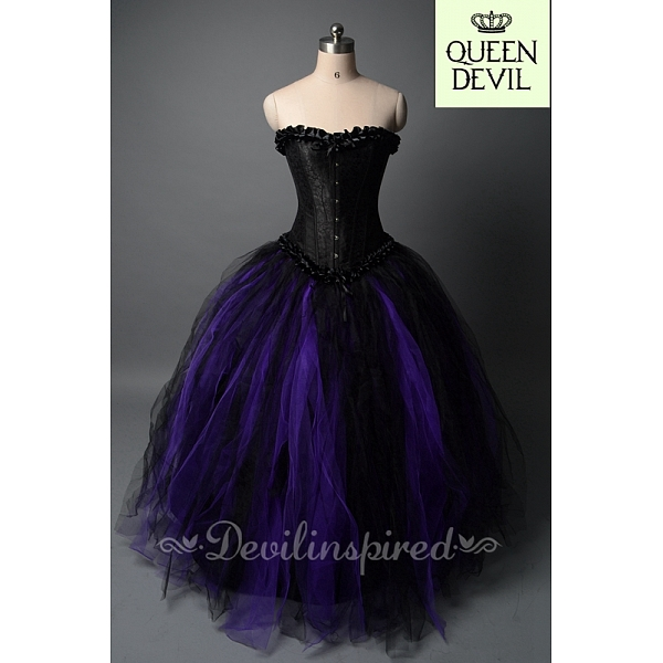 black and purple ball gown skirt and black corset gothic