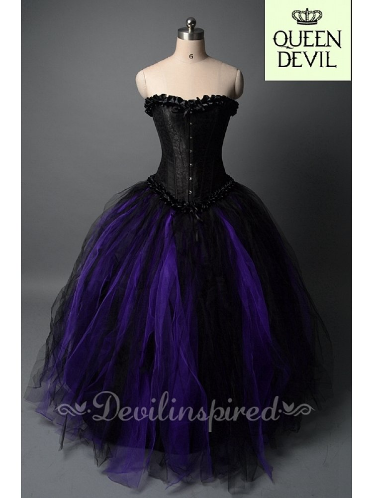 Black and Purple Ball Gown Skirt and Black Corset Gothic Prom Dress ...