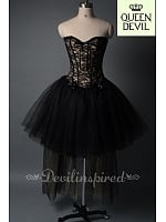 Nude and Black Color High-low Skirt Corset Dress with Big Bowknot on the Back - Queen Devil