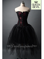 Dark Fairy Dark Red Corset and Black Fairy Skirt Two Piece Dress - Queen Devil