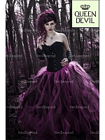 Gothic Black Corset and Long Black & Fuchsia Skirt Ball Gown Two-piece Dress - Queen Devil