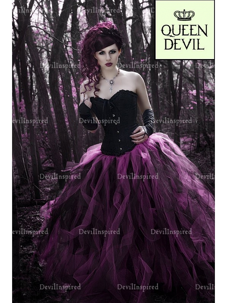 Gothic Black Corset And Long Black Fuchsia Skirt Ball Gown Two