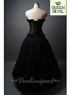 Gothic Black Ball Gown Dress with Pick-up and Lace Decorated Skirt Hemline - Queen Devil