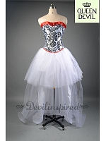 Vintage Printed Corset and High-low White Tulle Skirt Two Piece Dress - Queen Devil