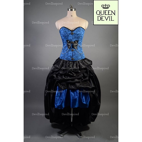 Black and blue corset prom dress