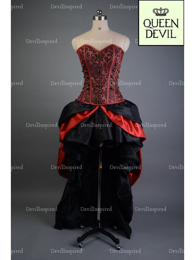 Royal Black & Red Hi-lo Skirt Gothic Two Piece Prom Party Dress