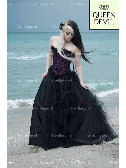 Gorgeous Purple Corset and Pure Black Tulle Ball Gown Skirt Two ...