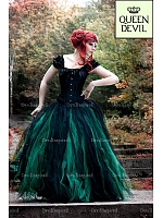 Forest Fairy Gothic Black and Green Ball Gown Skirt with Off the Shoulder Black Corset Two Piece Prom Dress - Queen Devil