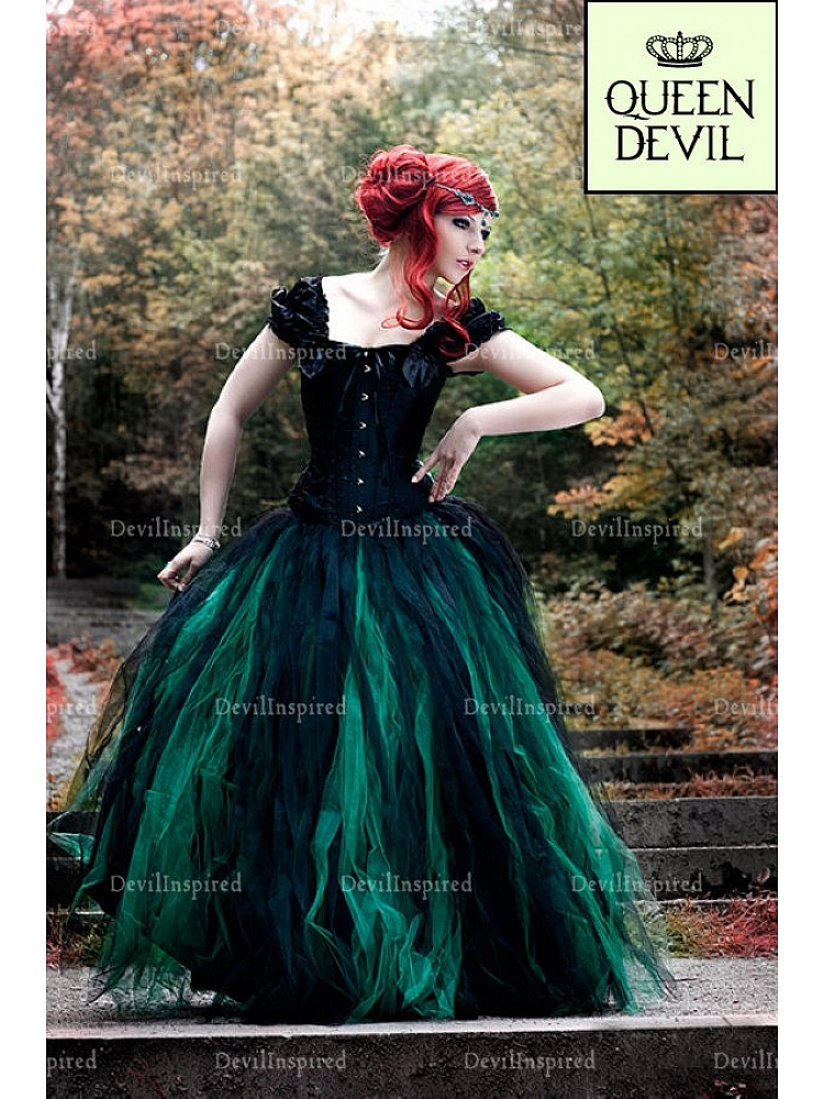 88446094a327 Forest Fairy Gothic Black and Green Ball Gown Skirt with Off the Shoulder Black  Corset Two Piece Prom Dress - Queen Devil