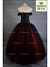 Gothic Off the Shoulder Corset with Black and Red Ball Gown Two Piece Prom Dress - Queen Devil