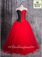 Gothic All Red Long Skirt with Matching Black & Red Corset Bodice Dress - Queen Devil