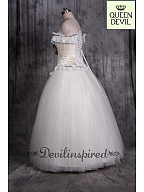 Special Designed Wedding Dress High Quality Floral Corset and Floor Length Skirt - Queen Devil