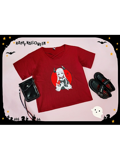Devil Girl Prints T-shirt by Deer Immortal