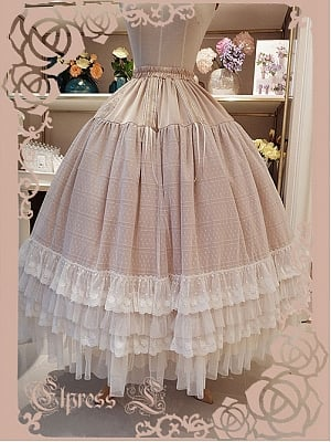 Layered Ruffle and Lace Trimmed Hemline Mid-waist Long Petticoat by Elpress L