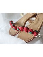 Cute Handmade Strawberries Ankle Strap Sandals by Evol Day