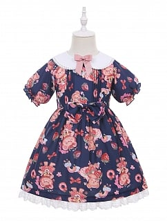 Dessert Strawberry Bear Lolita Dress OP for Kids by Fairy Cat