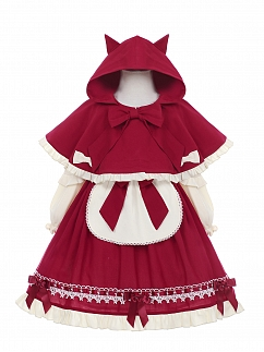 Little Red Riding Hood Lolita Dress OP and Cape for Kids by Fairy Cat
