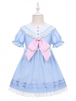 Navy Kindergarten Lolita Dress OP for Kids by Fairy Cat