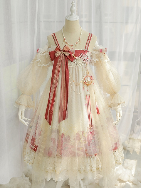 Flowers and Carp in Dream JSK Lolita Qi Dress by FantasyMirror