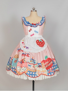 Sweet Cake Prints Flounce Neckline Lolita Dress with Apron by Flower Banquet Lolita