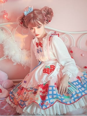 Cake Prints Lace Skirt Trim Lolita SK with Apron by Flower Banquet Lolita