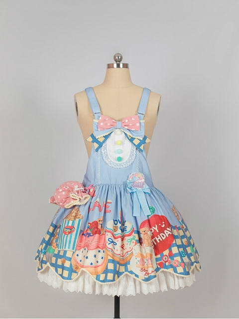 Sweet Cake Prints Adjustable Straps Lolita Overall Dress by Flower Banquet Lolita