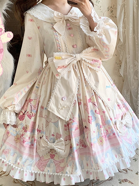 Sweet 100% Sugar Lolita Dress Long Sleeves OP by Fantasy Childlish