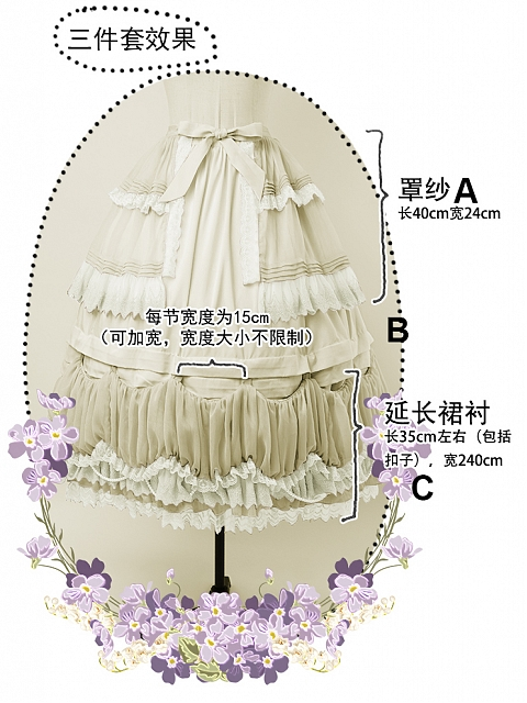 Fairy Three-pieces Set Petticoat by FunCcnio