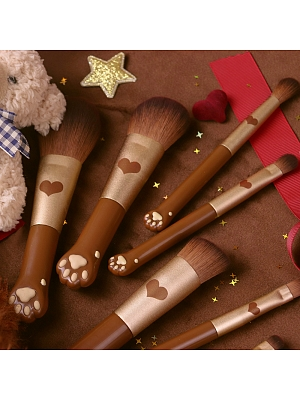 Teddy Bear Portable Mini Paw Makeup Brush Set 7 Pieces by Flower Knows