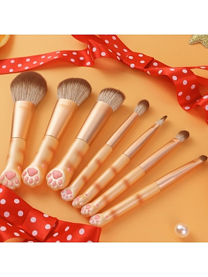 Cute Cat Claw Portable Mini Makeup Brush Set 7 Pieces Set by Flower Knows