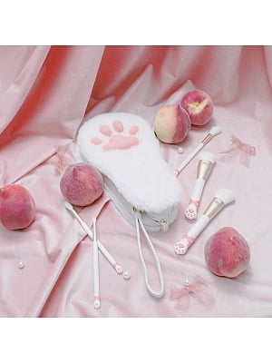 Cute Cat Claw Makeup Brushes 11 Pieces Set by Flower Knows