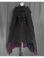 Flange Oath Shirring Back Lace-up Front High Waist Hi-lo Skirt with Straps by foxtrot lolita