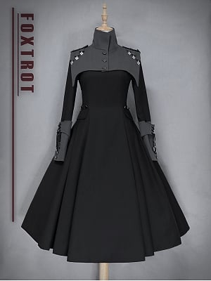 The Principle of Strength Gothic Military Lolita Dress OP by Foxtrot Lolita