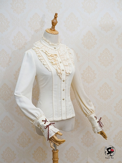 5a2683778f4006 Magic Red Riding Hood Stand Collar Lace-up Back Blouse by Fantastic Wind