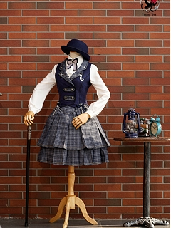 Waistcoat Top and Plaid Skirt Set-Magic Detective Group by Fantastic Wind