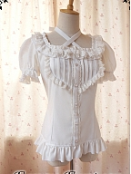 Cotton Short Sleeve and Halter-Straps Blouse